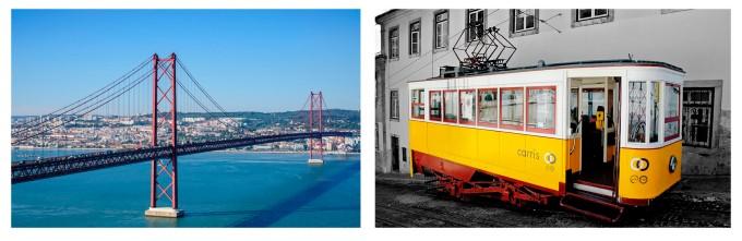 lisboa portugal puente 25 abril y tranvia amarillo calles
